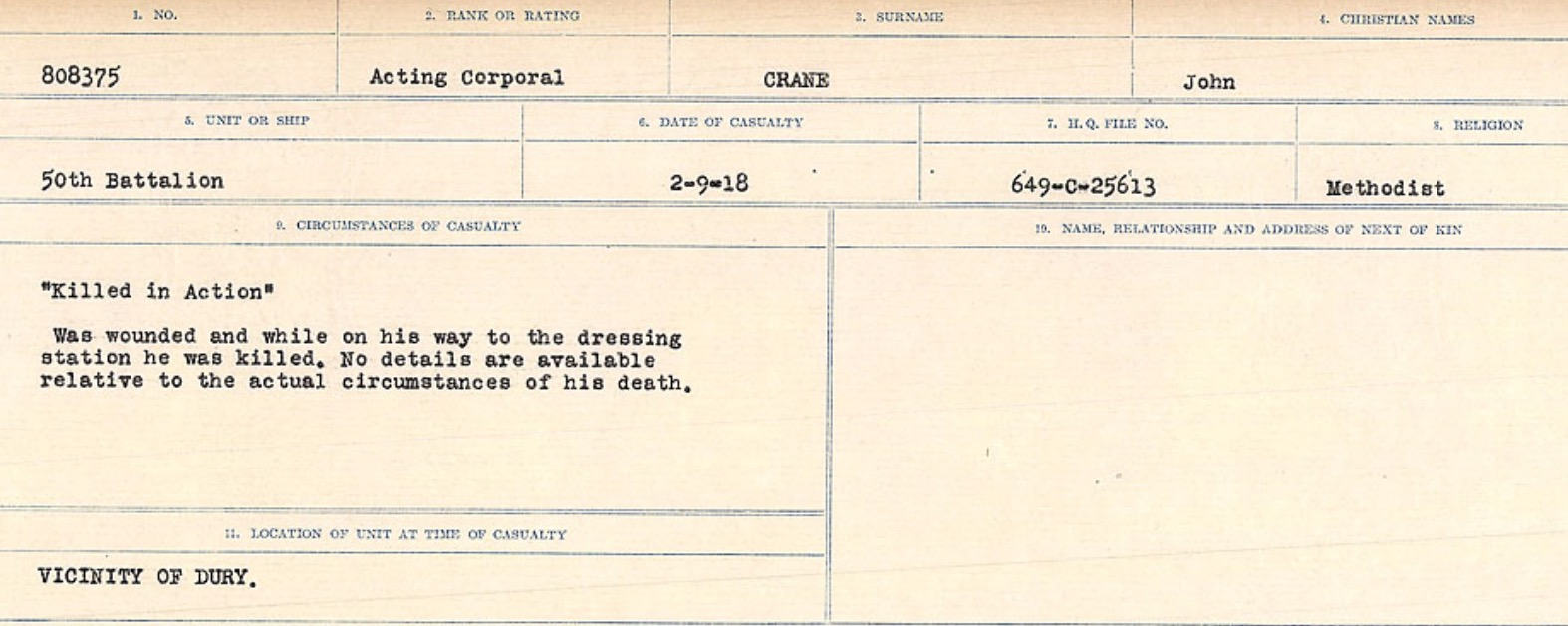 Circumstances of death registers– Source: Library and Archives Canada. CIRCUMSTANCES OF DEATH REGISTERS, FIRST WORLD WAR Surnames: CRABB TO CROSSLAND Microform Sequence 24; Volume Number 31829_B016733. Reference RG150, 1992-93/314, 168. Page 225 of 788.