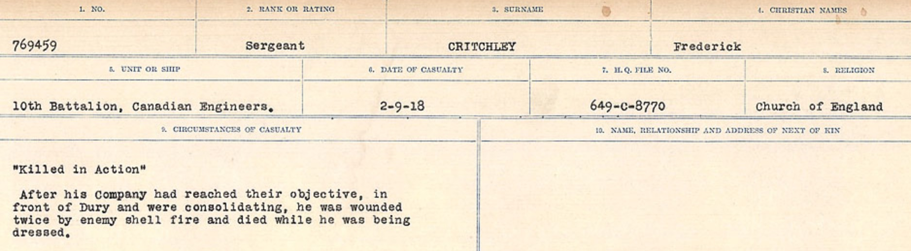 Circumstances of death registers– Source: Library and Archives Canada. CIRCUMSTANCES OF DEATH REGISTERS, FIRST WORLD WAR Surnames: CRABB TO CROSSLAND Microform Sequence 24; Volume Number 31829_B016733. Reference RG150, 1992-93/314, 168. Page 557 of 788