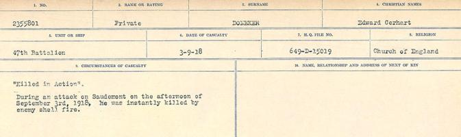 Circumstances of death registers– Source: Library and Archives Canada. CIRCUMSTANCES OF DEATH REGISTERS, FIRST WORLD WAR. Surnames: Don to Drzewiecki. Microform Sequence 29; Volume Number 31829_B016738. Reference RG150, 1992-93/314, 173. Page 119 of 1076.