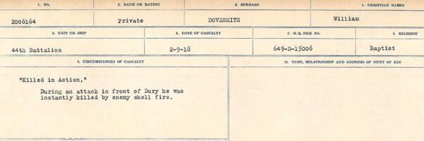 Circumstances of death registers– Source: Library and Archives Canada. CIRCUMSTANCES OF DEATH REGISTERS, FIRST WORLD WAR. Surnames: Don to Drzewiecki. Microform Sequence 29; Volume Number 31829_B016738. Reference RG150, 1992-93/314, 173. Page 579 of 1076.