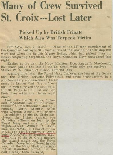 Press Clipping– Lt. Godfrey Thomas Alfred Archbold obit Montreal Gazette Oct 2 1943 Courtesy of McGill University Archives
