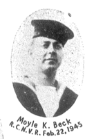 Photo of Moyle Beck– In memory of the students of the Lunenburg Academy who went off to war and did not come home. Submitted for the project, Operation Picture Me