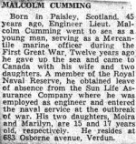 Press Clipping– Obituary for Malcolm Cumming.