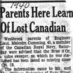 Press Clipping– Report of the lost ship in the Westbrooke, Maine newspaper.