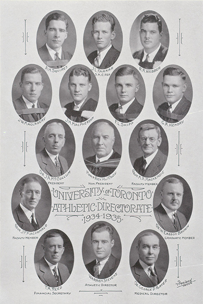 Composite photo of University of Toronto Athletic Directorate– Composite photo of University of Toronto Athletic Directorate shows Hendry second row from top, at right side. From Torontonensis yearbook, 1935.