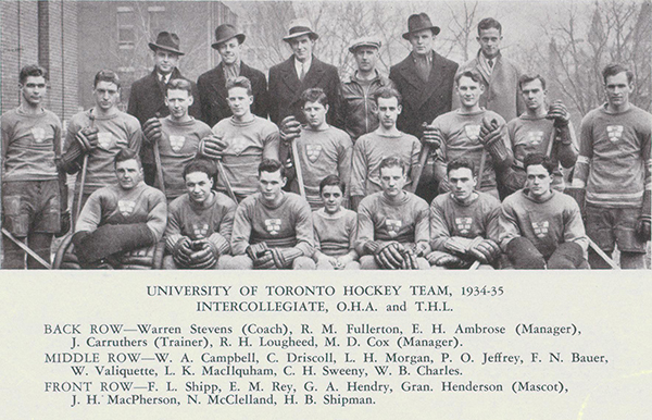 """Group Photo– Group photo of hockey players shows Hendry in front row, third from photo left. Hendry was a holder of the """"T"""" for athletic excellence. From Torontonensis yearbook, 1935."""