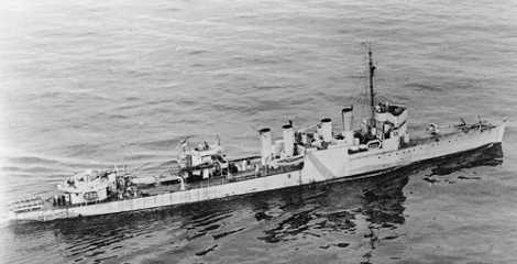 Photo– On 20 September 1943, while escorting convoy ON.202, south of Iceland, HMCS ST. CROIX was torpedoed and sunk by U-305. Sixty-five members of the ship's company perished. Five officers and seventy-six men were rescued by HMS ITCHEN, however, only two days later, the ITCHEN was also torpedoed by an enemy submarine. Only one ST. CROIX sailor survived.