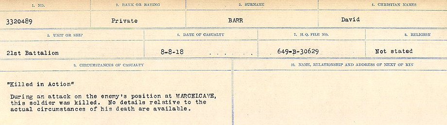 Circumstances of Death– Source: Library and Archives Canada.  CIRCUMSTANCES OF DEATH REGISTERS, FIRST WORLD WAR Surnames:  Bark to Bazinet. Mircoform Sequence 6; Volume Number 31829_B016716. Reference RG150, 1992-93/314, 150.  Page 343 of 1058.