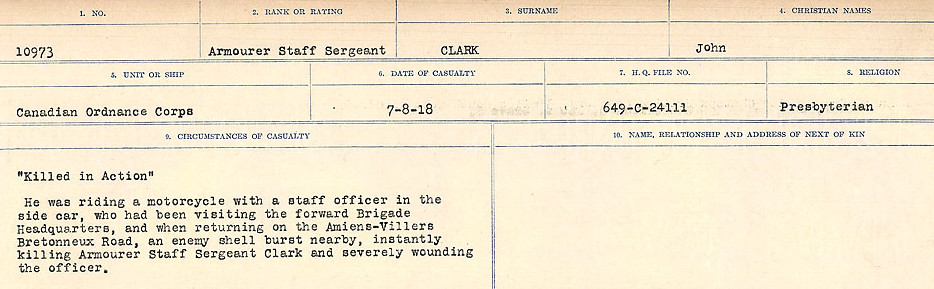 Circumstances of Death Registers– Source: Library and Archives Canada.  CIRCUMSTANCES OF DEATH REGISTERS, FIRST WORLD WAR Surnames:  CHILD TO CLAYTON.  Microform Sequence 20; Volume Number 31829_B016729. Reference RG150, 1992-93/314, 164.  Page 611 of 1068.