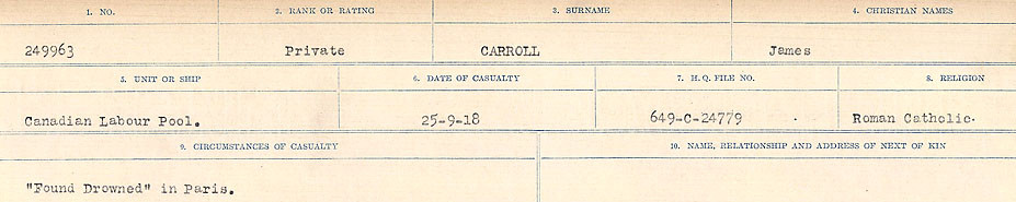 Circumstances of Death Registers– Source: Library and Archives Canada.  CIRCUMSTANCES OF DEATH REGISTERS, FIRST WORLD WAR Surnames:  Canavan to Caswell. Microform Sequence 18; Volume Number 31829_B016727. Reference RG150, 1992-93/314, 162.  Page 511 of 1004.