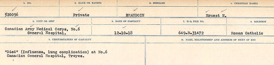 Circumstances of Death Registers– Source: Library and Archives Canada.  CIRCUMSTANCES OF DEATH REGISTERS FIRST WORLD WAR Surnames:  Bea to Belisle. Mircoform Sequence 7; Volume Number 31829_B016717. Reference RG150, 1992-93/314, 151.  Page 291 of 724.