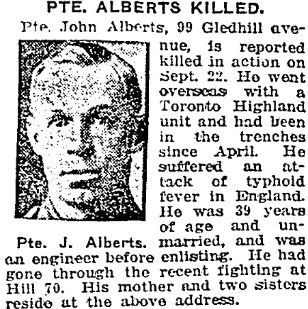 Newspaper clipping– In memory of the members of the 15th, 92nd and 134th Battalions (48th Highlanders) who went to war and did not return. Remembered by the 48th Highlanders Museum 73 Simcoe St. Toronto, Submitted for the project, Operation: Picture Me.
