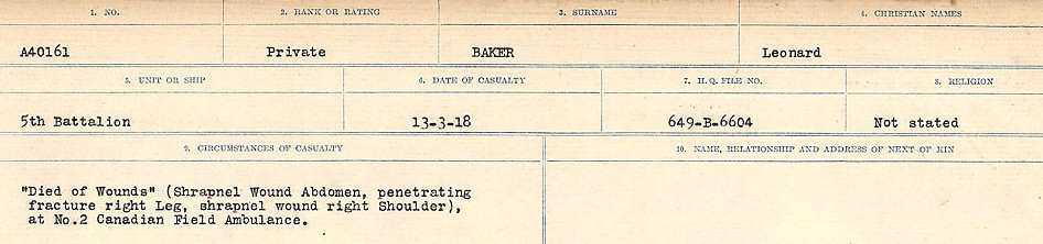 Circumstances of Death Registers– Source: Library and Archives Canada.  CIRCUMSANCES OF DEATH REGISTERS, FIRST WORLD WAR Surnames:  Babb to Barjarow. Microform Sequence 5; Volume Number 31829_B016715. Reference RG150, 1992-93/314, 149.  Page 507 of 1072.