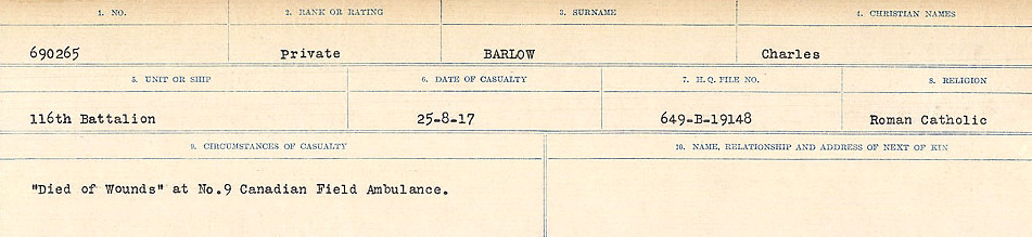 Circumstances of Death Registers– Source: Library and Archives Canada.  CIRCUMSTANCES OF DEATH REGISTERS, FIRST WORLD WAR Surnames:  Bark to Bazinet. Mircoform Sequence 6; Volume Number 31829_B016716. Reference RG150, 1992-93/314, 150.  Page 105 of 1058.