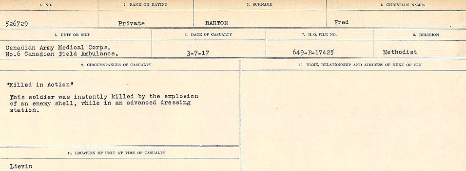 Circumstances of Death– Source: Library and Archives Canada.  CIRCUMSTANCES OF DEATH REGISTERS, FIRST WORLD WAR Surnames:  Bark to Bazinet. Mircoform Sequence 6; Volume Number 31829_B016716. Reference RG150, 1992-93/314, 150.  Page 649 of 1058.