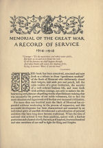 Record of Service– Memorial from the Great War 1914-1918: a record of service published by the Bank of Montreal 1921.