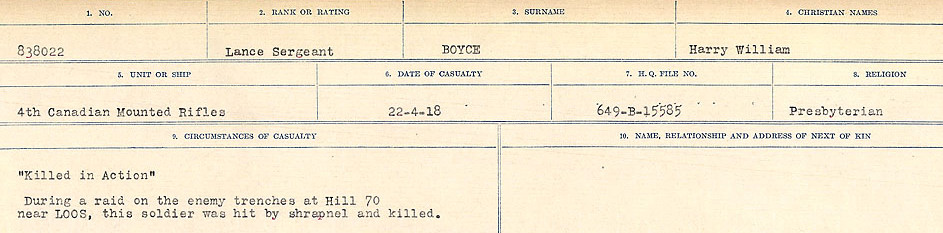 Circumstances of Death Registers– Source: Library and Archives Canada.  CIRCUMSTANCES OF DEATH REGISTERS FIRST WORLD WAR Surnames: Border to Boys. Mircoform Sequence 12; Volume Number 131829_B016721; Reference RG150, 1992-93/314, 156 Page 759 of 934.