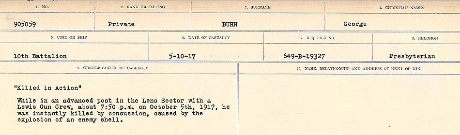 Circumstances of Death Registers– Source: Library and Archives Canada.  CIRCUMSTANCES OF DEATH REGISTERS, FIRST WORLD WAR Surnames:  Burbank to Bytheway. Microform Sequence 16; Volume Number 31829_B016725. Reference RG150, 1992-93/314, 160.  Page 247 of 926.