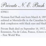 Memorial Page– Norman Earl Bush is honoured on page 7 of the Merrickville Remembers booklet, published in January 2003.