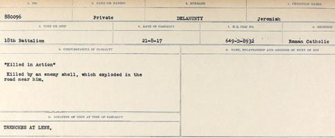 Circumstances of death registers– Source: Library and Archives Canada. CIRCUMSTANCES OF DEATH REGISTERS, FIRST WORLD WAR. Surnames: Davy to Detro. Microform Sequence 27; Volume Number 31829_B016736. Reference RG150, 1992-93/314, 171. Page 481 of 1036.