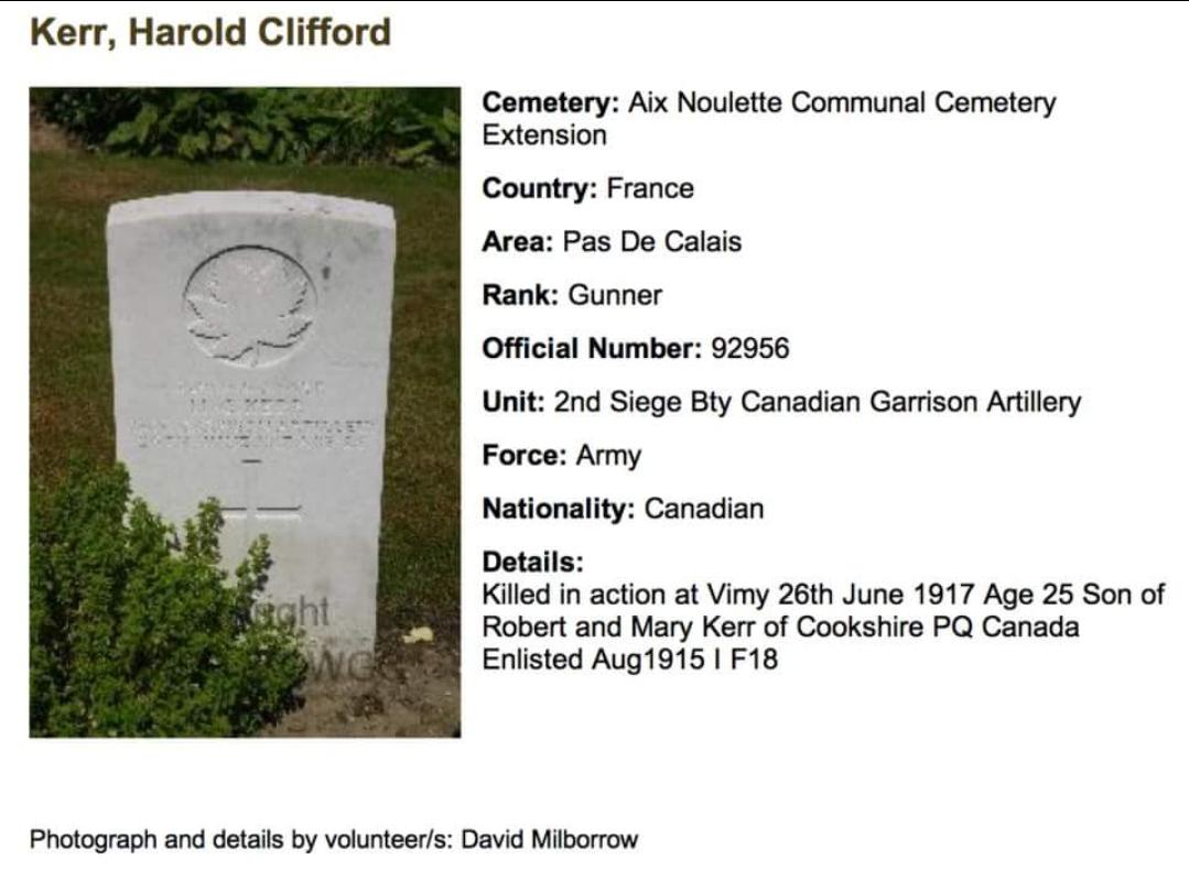 Grave Marker– Photo of grave marker Harold Clifford Kerr