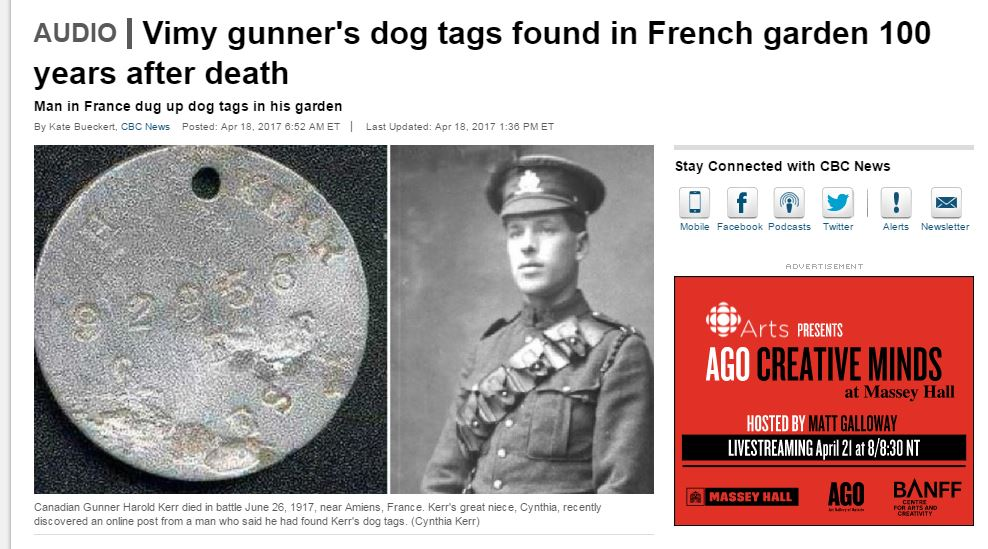 Article– On the Anniversary of Vimy Ridge (Harold fought at Vimy) I found his ID plate online on a French WW1 Forum.   I hold Harold's Victory Medal although the ribbon on it is actually for the British War Medal he was also awarded.   I am hoping to find the family member(s) who uploaded Harold's war photos so that we can make contact.    Proud of this forever-young, brave man.