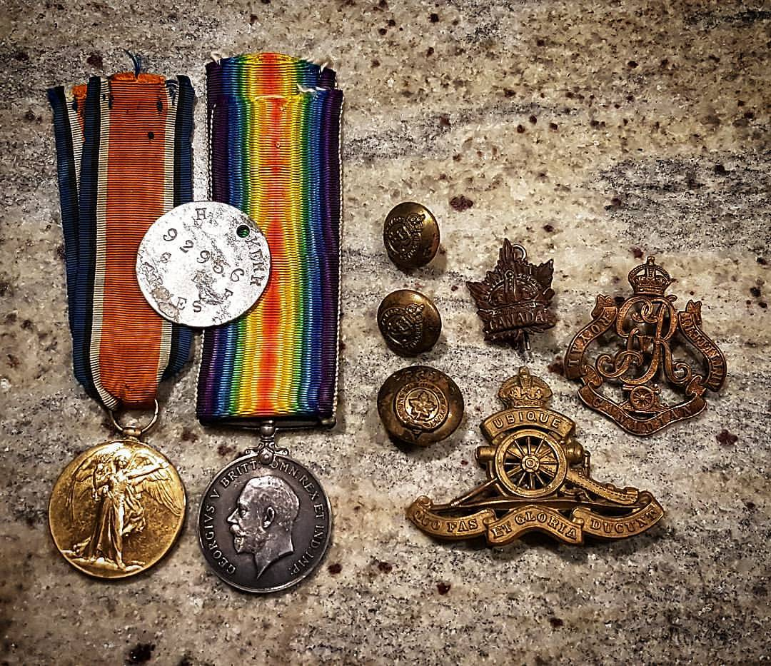 Artifacts– Harold Clifford Kerr's British War Medal (held by D.Kerr) and Victory Medal (held by C.Kerr - the ribbons swapped by our Great Grandmother perhaps); uniform buttons and badges; hat badge.    This photo was taken on 8 May 2017.   It is the first time in 75yrs at least that the two war medals have been together.   ID Plate (dog tag) found in 2007 in France and sent to CKerr in April 2017.       The discovery of the ID Plate led to the Australian Broadcast Corporation and the Canadian Broadcast Corporation covering the story.   The story led to descendants of the Kerr family 'locating' each other via the internet.