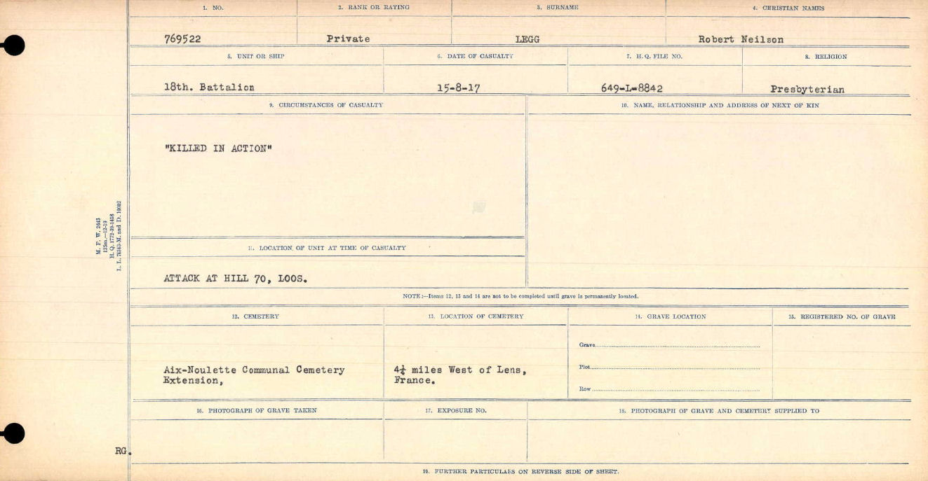"""Circumstances of Death Registers– """"Killed in Action""""  Title:Circumstances of Death Registers, First World War Mikan record:46246 Volume Number:31829_B016748 Page:571 Contributed by E.Edwards www.18thbattalioncef.wordpress.com"""