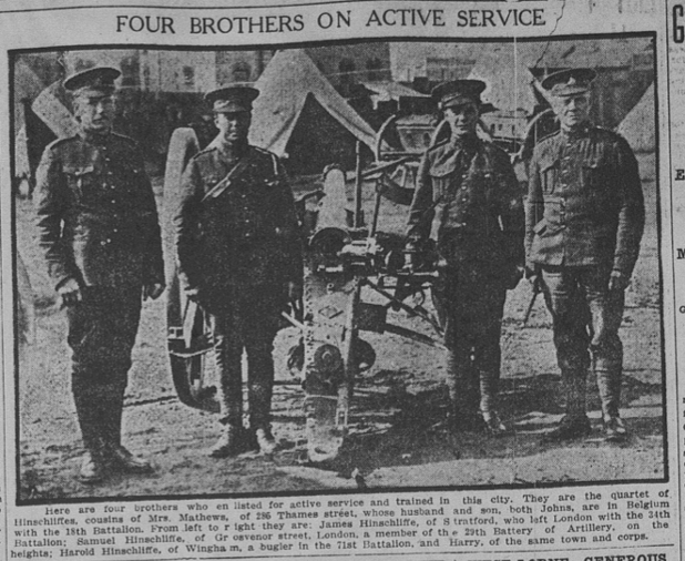 Newspaper Clipping– From Left to Right: James, Samuel, Harold (father to Harry), and Harry Hinscliffe.