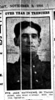 Newspaper Clipping– Matthews, John Richard: Service no. 54288. Source: London Free Press. November 3, 1916. Via Allan Millar from Facebook.