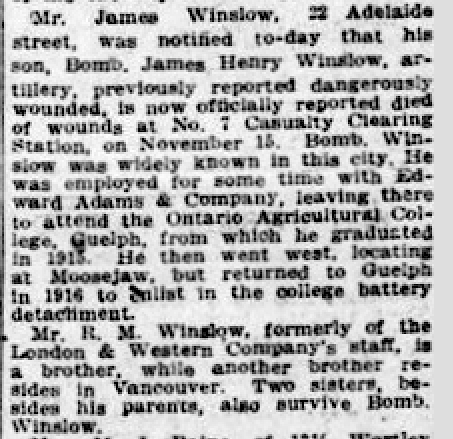 Newspaper clipping– From the London Free Press November 1917. Submitted for the project Operation Picture Me