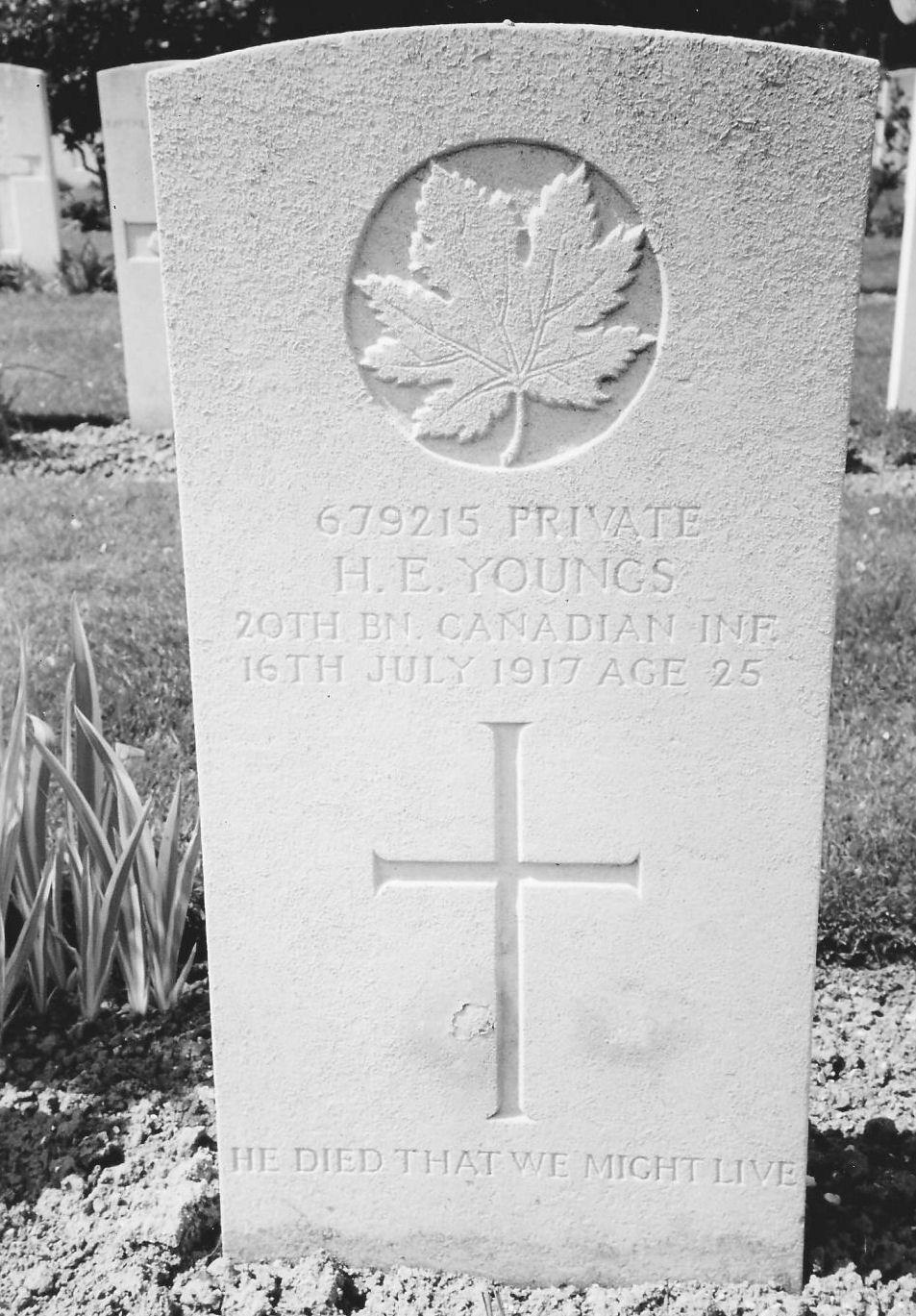 Grave Marker– Hezekiah Edward YOUNGS grave marker at Aix-Noulette