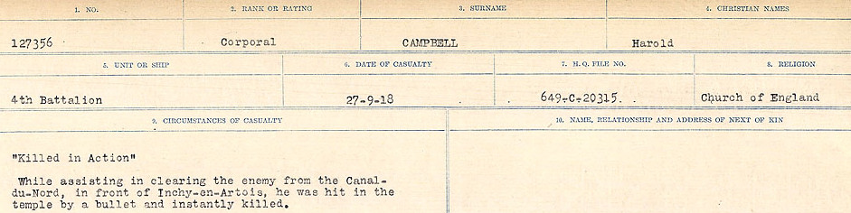 Circumstances of Death Registers– Source: Library and Archives Canada.  CIRCUMSTANCES OF DEATH REGISTERS, FIRST WORLD WAR Surnames:  Cabana to Campling. Microform Sequence 17; Volume Number 31829_B016726. Reference RG150, 1992-93/314, 161.  Page 707 of 1024