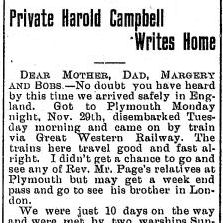 Newspaper Clipping– Screenshot of part 1 of a letter by Corporal Campbell from the Brussels Post. December 25, 1915. Page 1. Letter dated December 1, 1915.  Contributed by E.Edwards www.18thbattalioncef.wordpress.com
