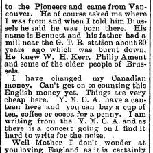 Newspaper Clipping– Screenshot of part 2 of a letter by Corporal Campbell from the Brussels Post. December 25, 1915. Page 1. Letter dated December 1, 1915.  Contributed by E.Edwards www.18thbattalioncef.wordpress.com