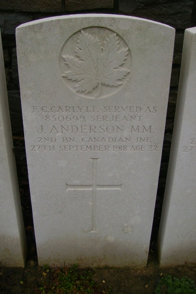 Grave Marker– Ontario Cemetery, Sains-les-Marquion … photo courtesy of Marg Liessens
