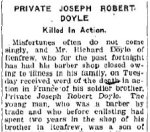 Newspaper Clipping– From the Renfew Mercury for 18 October 1918.