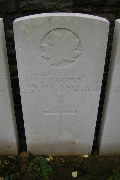 Grave Marker– Grave marker - Ontario Cemetery, Sains-les-Marquion … photo courtesy of Marg Liessens