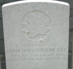 Grave Marker– Grave of Private Harold McKay of Brockville, Ontario. Photo courtesy Wilf Schofield, England.