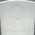 Grave Marker– Grave of Pte. John Teevan who was born in Belleek, Ireland.  He resided in Peterborough, Ontario, when he enlisted January 1918. Photo courtesy of Wilf Schofield, England.