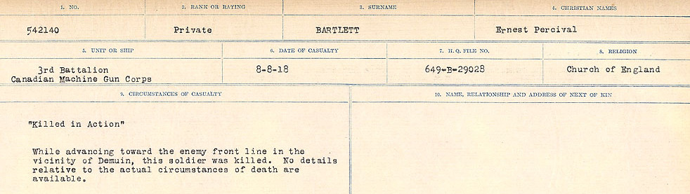 Circumstances of Death Registers– Source: Library and Archives Canada.  CIRCUMSTANCES OF DEATH REGISTERS, FIRST WORLD WAR Surnames:  Bark to Bazinet. Mircoform Sequence 6; Volume Number 31829_B016716. Reference RG150, 1992-93/314, 150.  Page 597 of 1058.