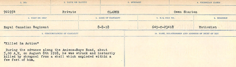 Photo of OWEN SHENTON CLARKE– Source: Library and Archives Canada.  CIRCUMSTANCES OF DEATH REGISTERS, FIRST WORLD WAR Surnames:  CHILD TO CLAYTON.  Microform Sequence 20; Volume Number 31829_B016729. Reference RG150, 1992-93/314, 164.  Page 913 of 1068