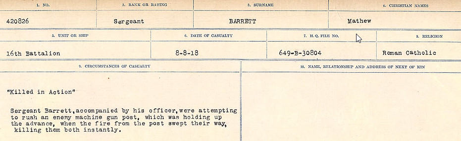 Circumstances of Death– Source: Library and Archives Canada.  CIRCUMSTANCES OF DEATH REGISTERS, FIRST WORLD WAR Surnames:  Bark to Bazinet. Mircoform Sequence 6; Volume Number 31829_B016716. Reference RG150, 1992-93/314, 150.  Page 449 of 1058.