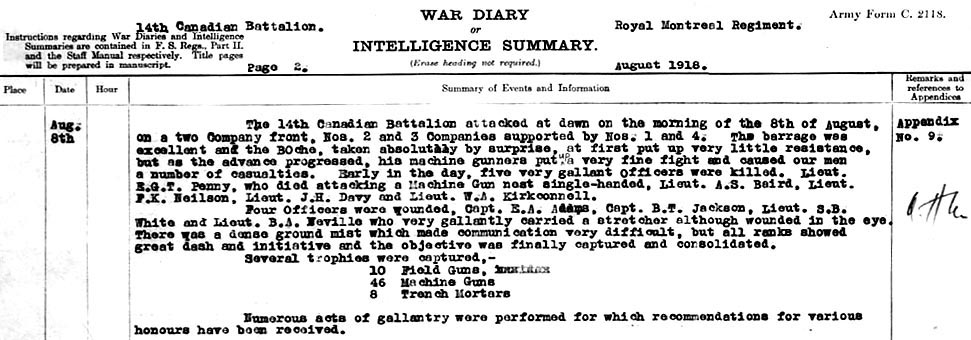 Diary– Battle of Amiens - 14th Battalion War Diary entry noting the death of Lt. Andrew Stuart Baird.