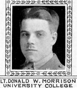 Photo of Donald Morrison– From: The Varsity Magazine Supplement Fourth Edition 1918 published by The Students Administrative Council, University of Toronto.   Submitted for the Soldiers' Tower Committee, University of Toronto, by Operation Picture Me.