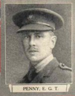 Photo of Edward Geoff Trevor Penny– From The War Book of Upper Canada College, edited by Archibald Hope Young, Toronto, 1923.  This book is a Roll of Honour including former students who served during the First World War.