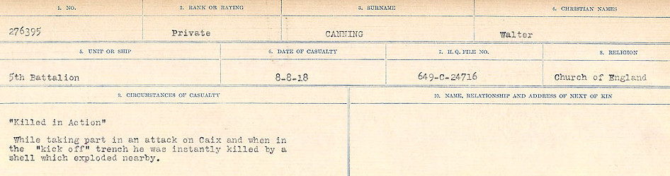 Circumstances of Death Registers– Source: Library and Archives Canada.  CIRCUMSTANCES OF DEATH REGISTERS, FIRST WORLD WAR Surnames:  Canavan to Caswell. Microform Sequence 18; Volume Number 31829_B016727. Reference RG150, 1992-93/314, 162.  Page 53 of 1004.