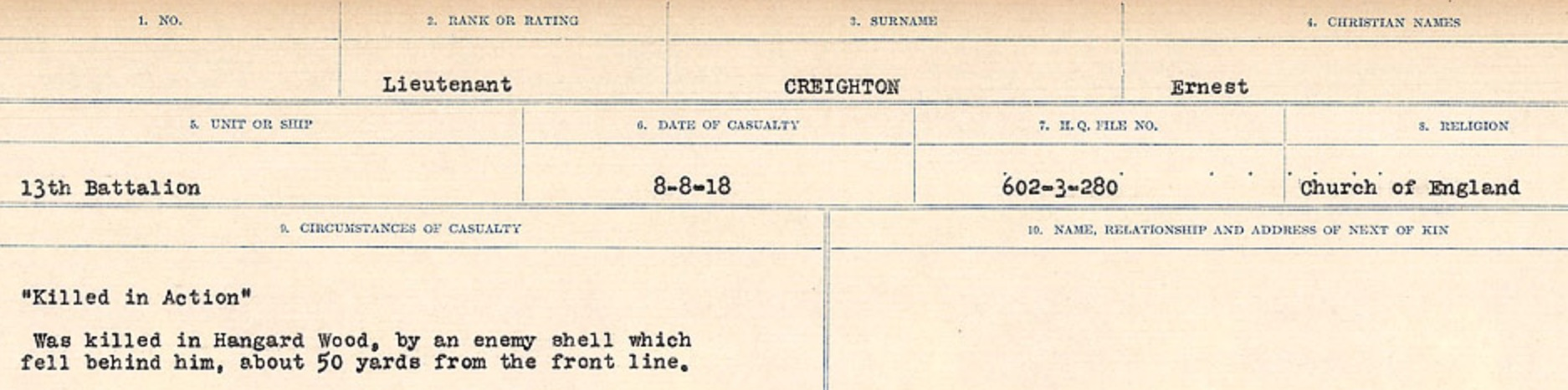 Circumstances of death registers– Source: Library and Archives Canada. CIRCUMSTANCES OF DEATH REGISTERS, FIRST WORLD WAR Surnames: CRABB TO CROSSLAND Microform Sequence 24; Volume Number 31829_B016733. Reference RG150, 1992-93/314, 168. Page 451 of 788.