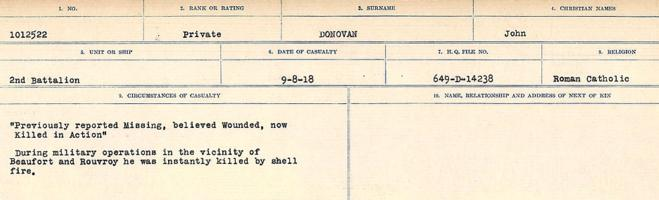 Circumstances of death registers– Source: Library and Archives Canada. CIRCUMSTANCES OF DEATH REGISTERS, FIRST WORLD WAR. Surnames: Don to Drzewiecki. Microform Sequence 29; Volume Number 31829_B016738. Reference RG150, 1992-93/314, 173. Page 197 of 1076.