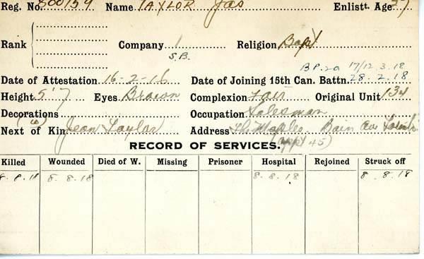 Record of Service– Record of Service Card (front side).  From archives 48th Highlanders of Canada Regimental Museum.  Submitted by 15th Bn Memorial Project Team.  DILEAS GU BRATH
